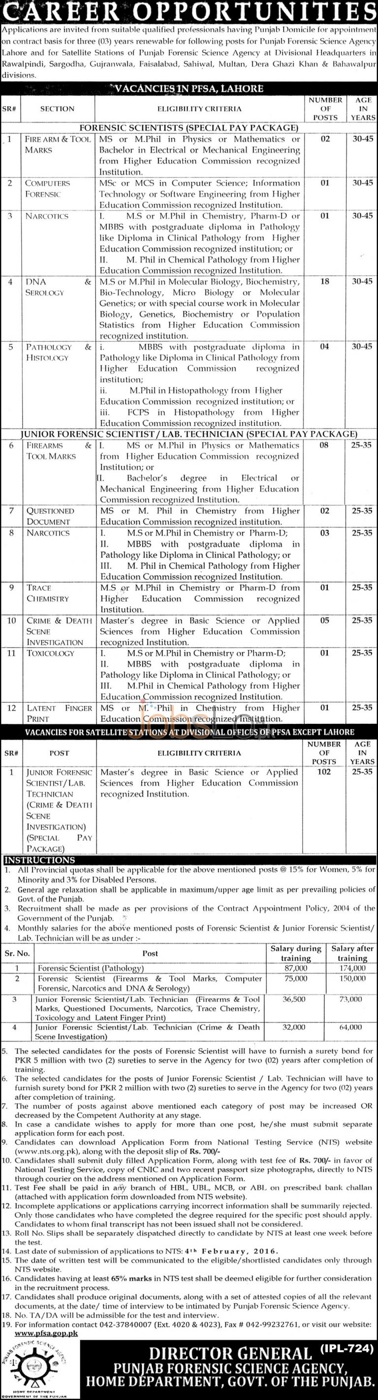 Punjab Forensic Science Agency Jobs 2016 for Forensic Scientist