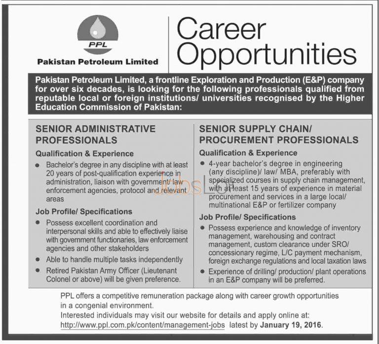Pakistan Petroleum Limited Jobs for Senior Administrative Professionals and Senior Supply Chain Procurement Professionals