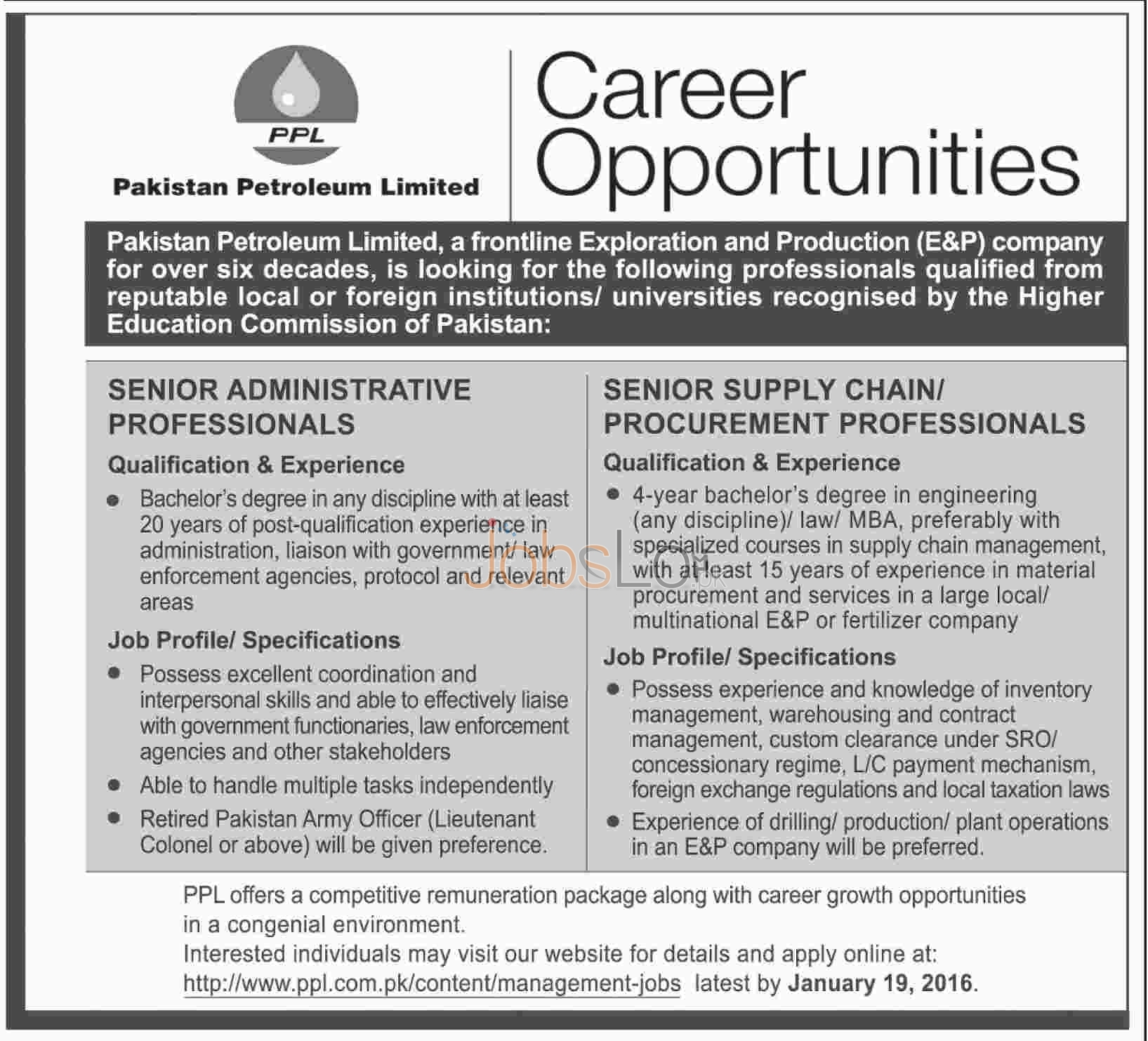 Recruitment Offers in Pakistan Petroleum Limited 2016