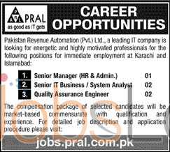 Pakistan Revenue Automation Pvt Limited Karachi Jobs 27th Jan 2016