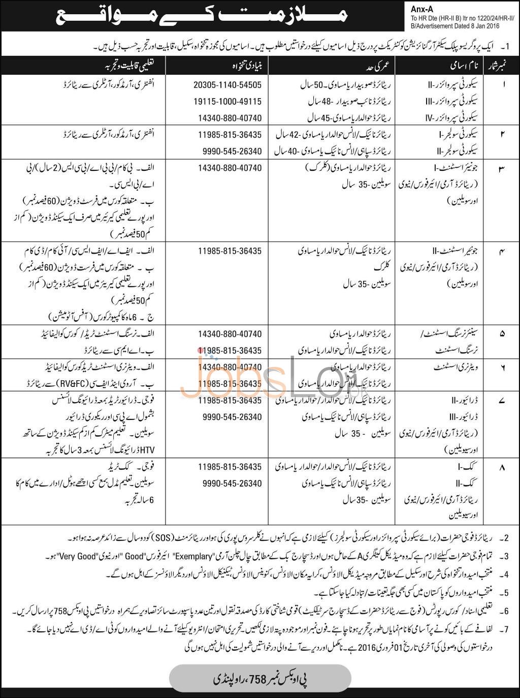 Public Sector Organization Rawalpindi 2016 Jobs