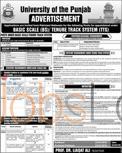 University Of Punjab 23rd January 2016 Jobs