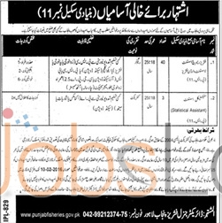 Job Vacancies in Punjab Fisheries Department 2016 for Research Assistant