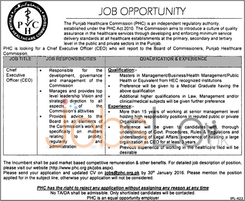 Punjab Health Care Commission Jobs for Chief Executive 13th January 2016