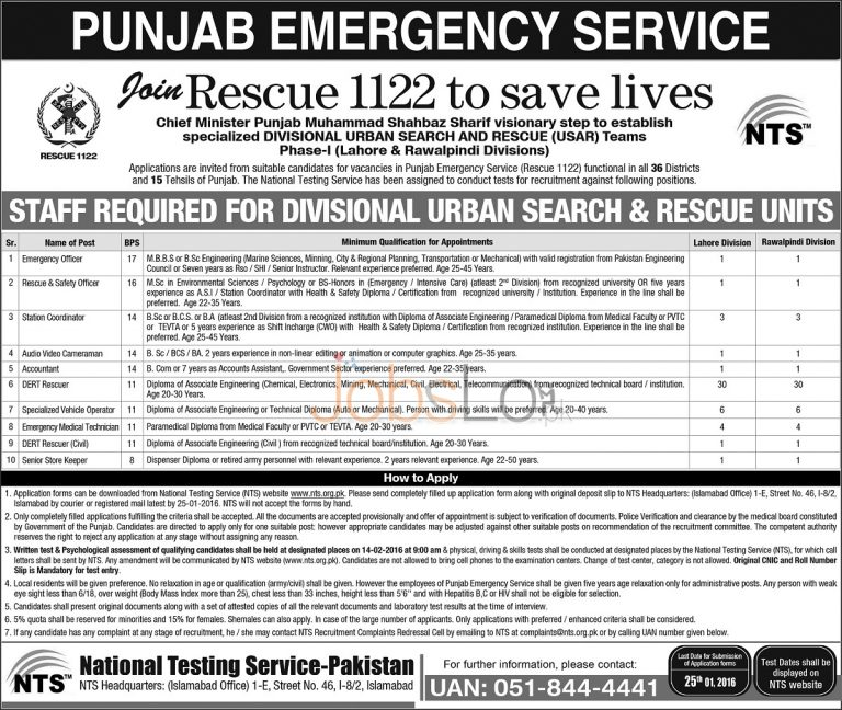 Jobs in Punjab Emergency Service Latest Advertisement 2016
