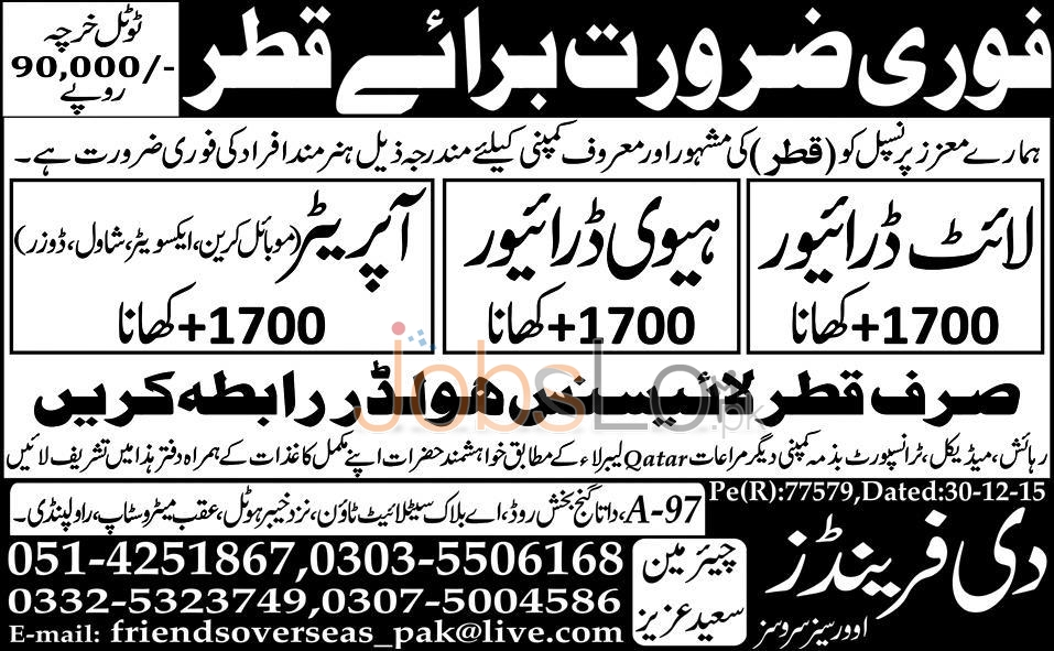 Driver and Operator Jobs in Qatar 2016