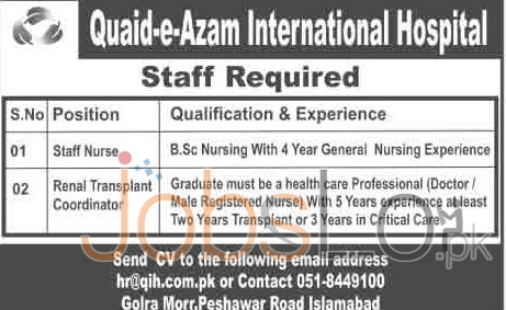 Recruitment Offer in Quaide Azam International Hospital 2016