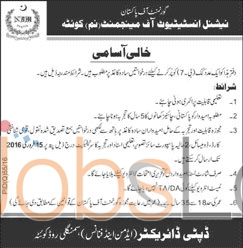 National Institute of Management Sciences Job Offers in Quetta 30 Jan 2016