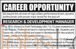 Researchand  Development Manager Recruitment Offers in Rawalpindi 2016