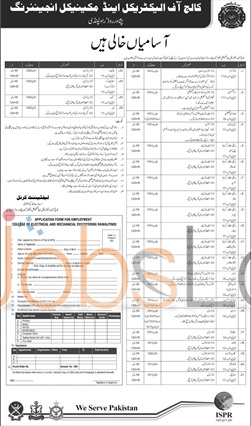 College of Electrical and Mechanical Engineering Rawalpindi Jobs 24th January 2016