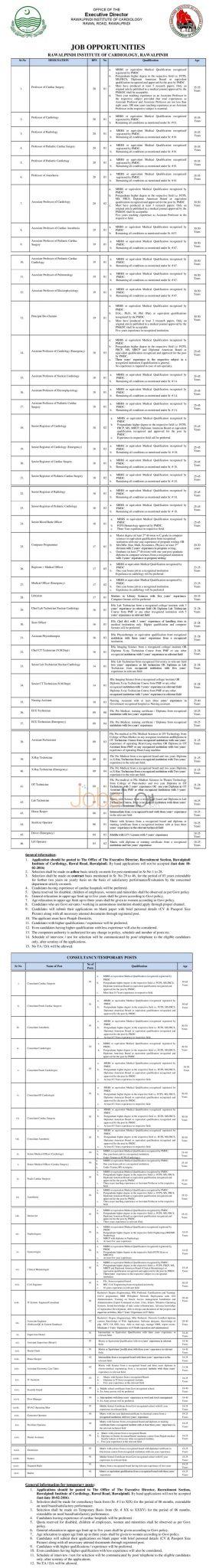 Rawalpindi Institute of Cardiology Jobs 26th January 2016