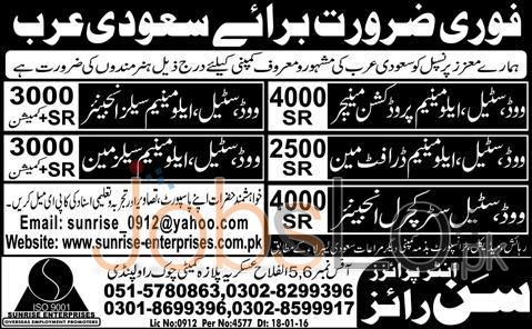 Manager & Sales Engineer 2016 Career Opportunities in Saudi Arabia