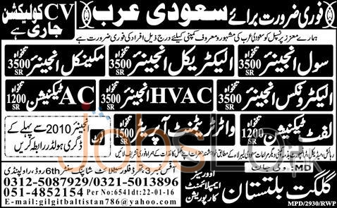 Technician and Civil Engineer Required in Saudi Arabia 2016