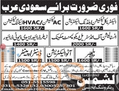 Urgent Jobs in Saudi Arabia 29th January 2016 for Electrician