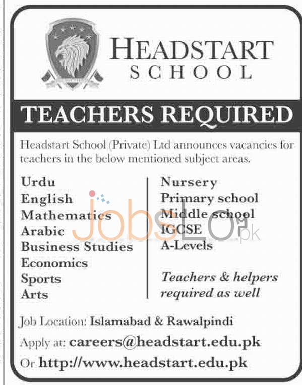 Recruitment Offers in Head Start School for Teachers 15th January 2016