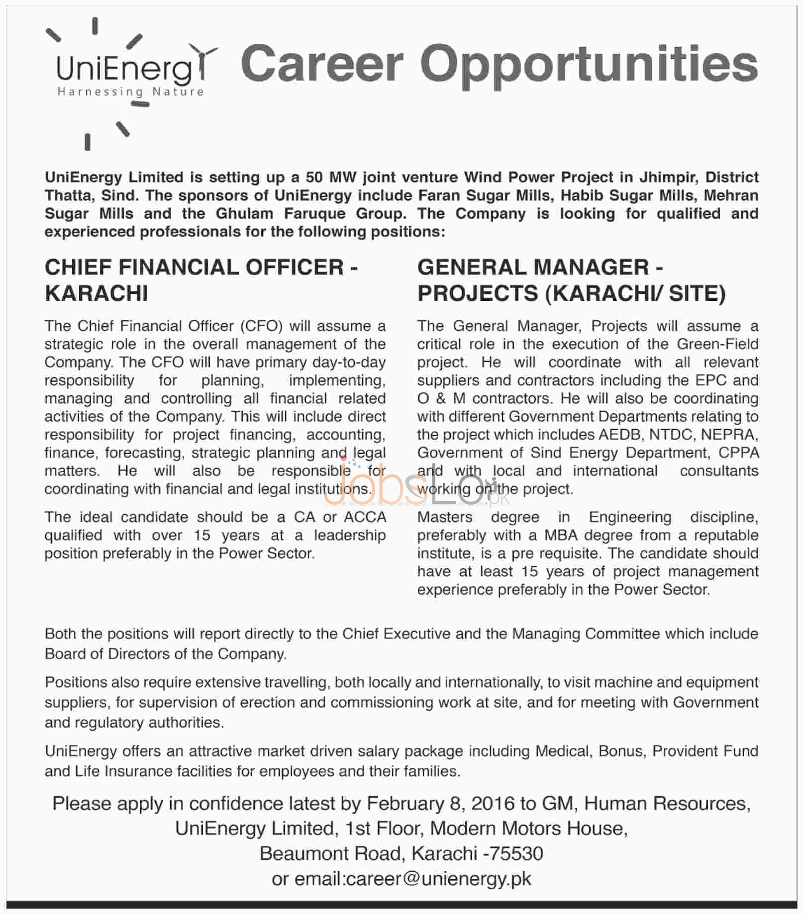 Vacant Situation in Uni Energy Limited Company 2016 Sindh, Jhimpir District