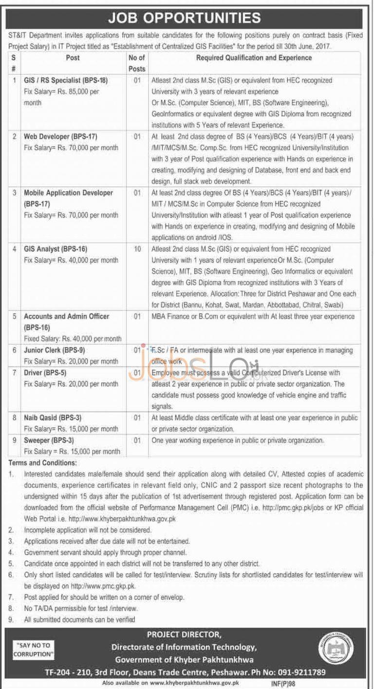 ST&IT Department Jobs 09 January 2016 Latest Advertisement