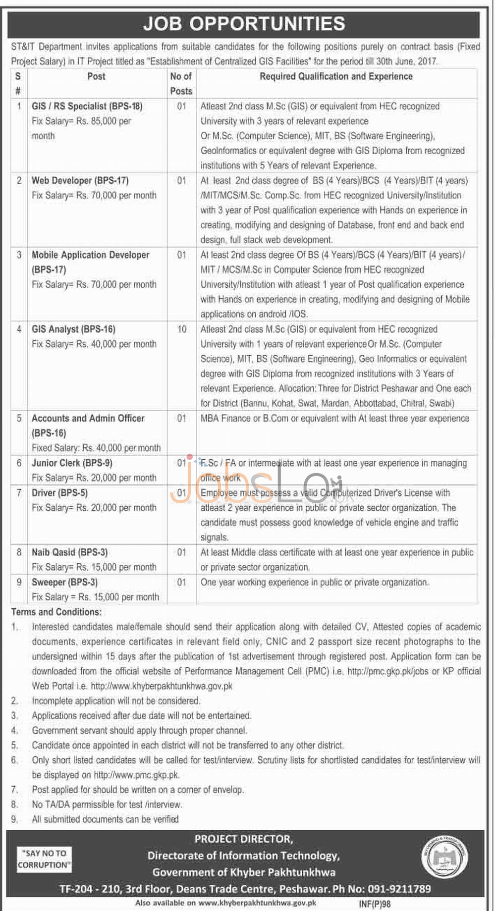 Recruitment Offers in ST&IT Deaprtment 2016