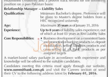 Summit Bank Limited Jobs in Karachi 2016 for Relationship Manager Latest Advertisement