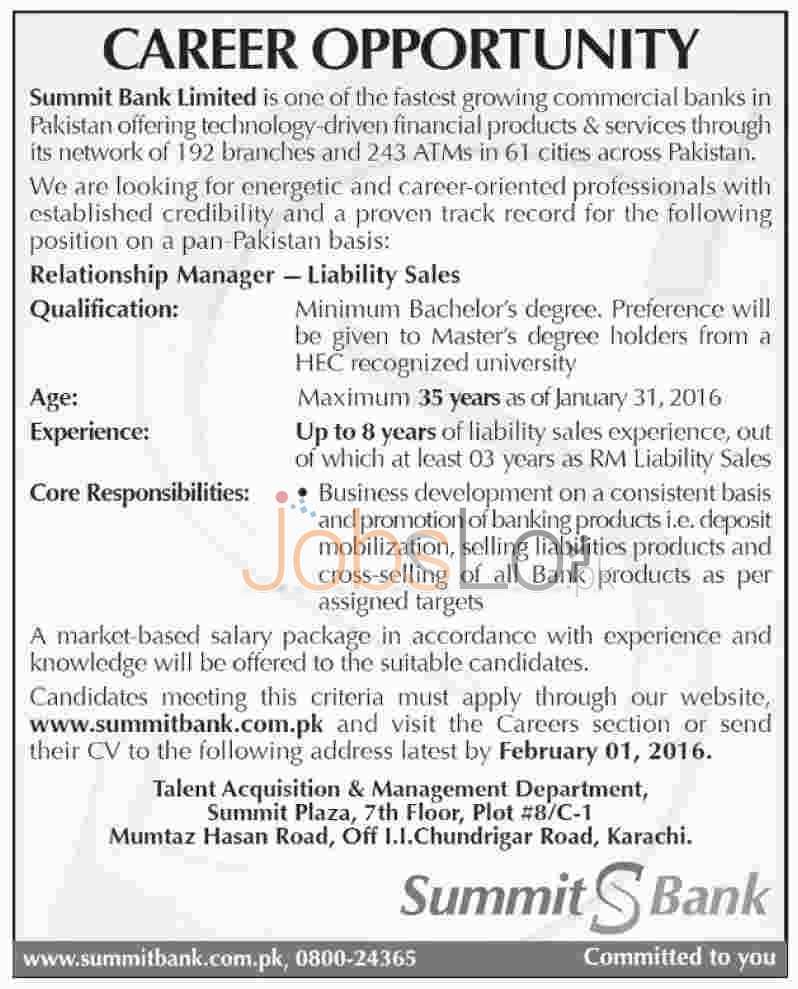 Relationship Manager Jobs in Summit Bank Limited in Karachi