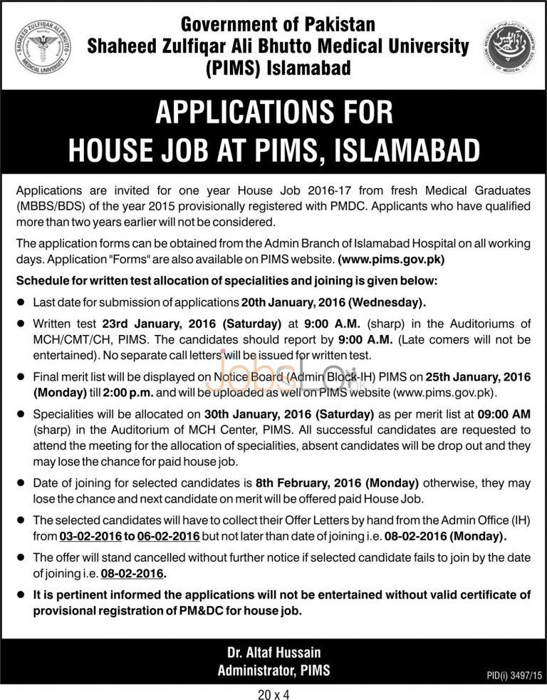 Shaheed Zulfiqar Ali Bhutto Medical University PIMS Islamabad