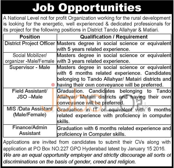 Vacant Situations in Tando Allah Yar and Matiyari Government job 2016