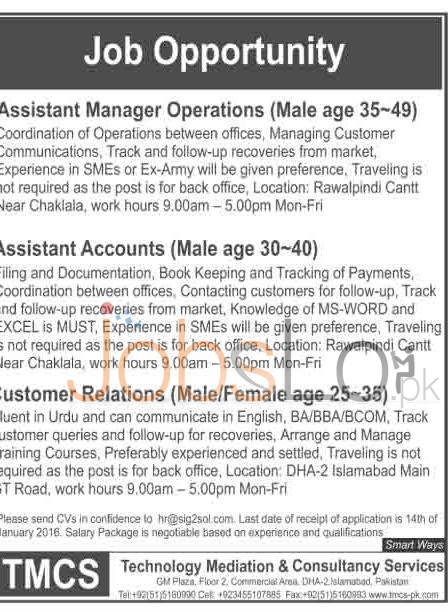 Recruitment Offers in Rawalpindi for Technology Mediation &Consultancy Service