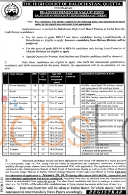 High Court of Balochistan Turbat 2016 Jobs