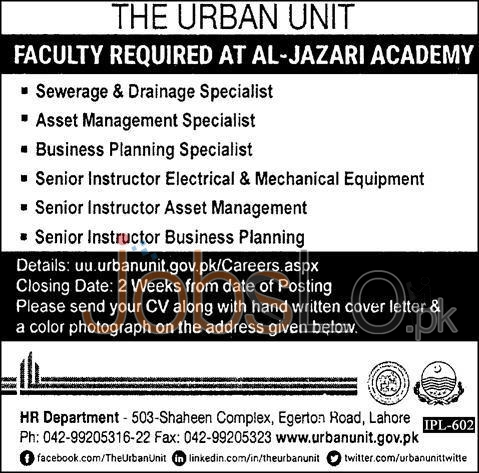 Urban Unit in  Al Jazari Academy Lahore Jobs 16th January 2016