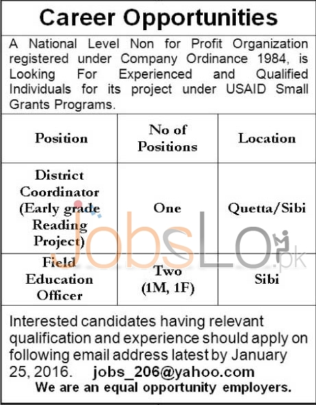 USAID 2016 National Level Non- Profit Organization Jobs