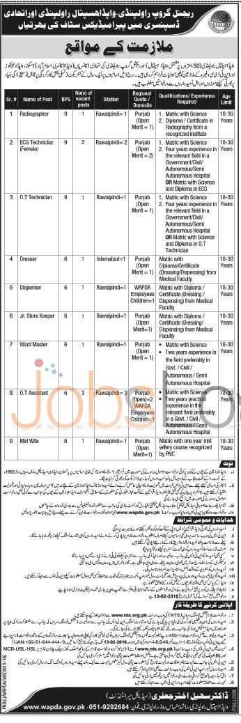 WAPDA Hospital Rawalpindi Recruitment Opportunities 30 Jan 2016