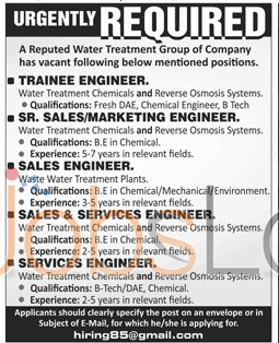 Recruitment Offers in Water Treatment Group of Company