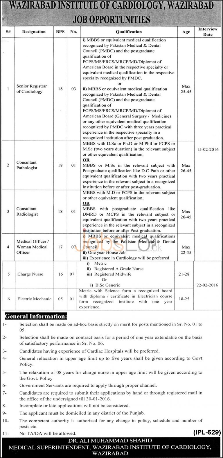 Wazirabad Institute of Cardiology Jobs for Senior Registrar of Cardiology, Consultant Pathologist and Medical Officer