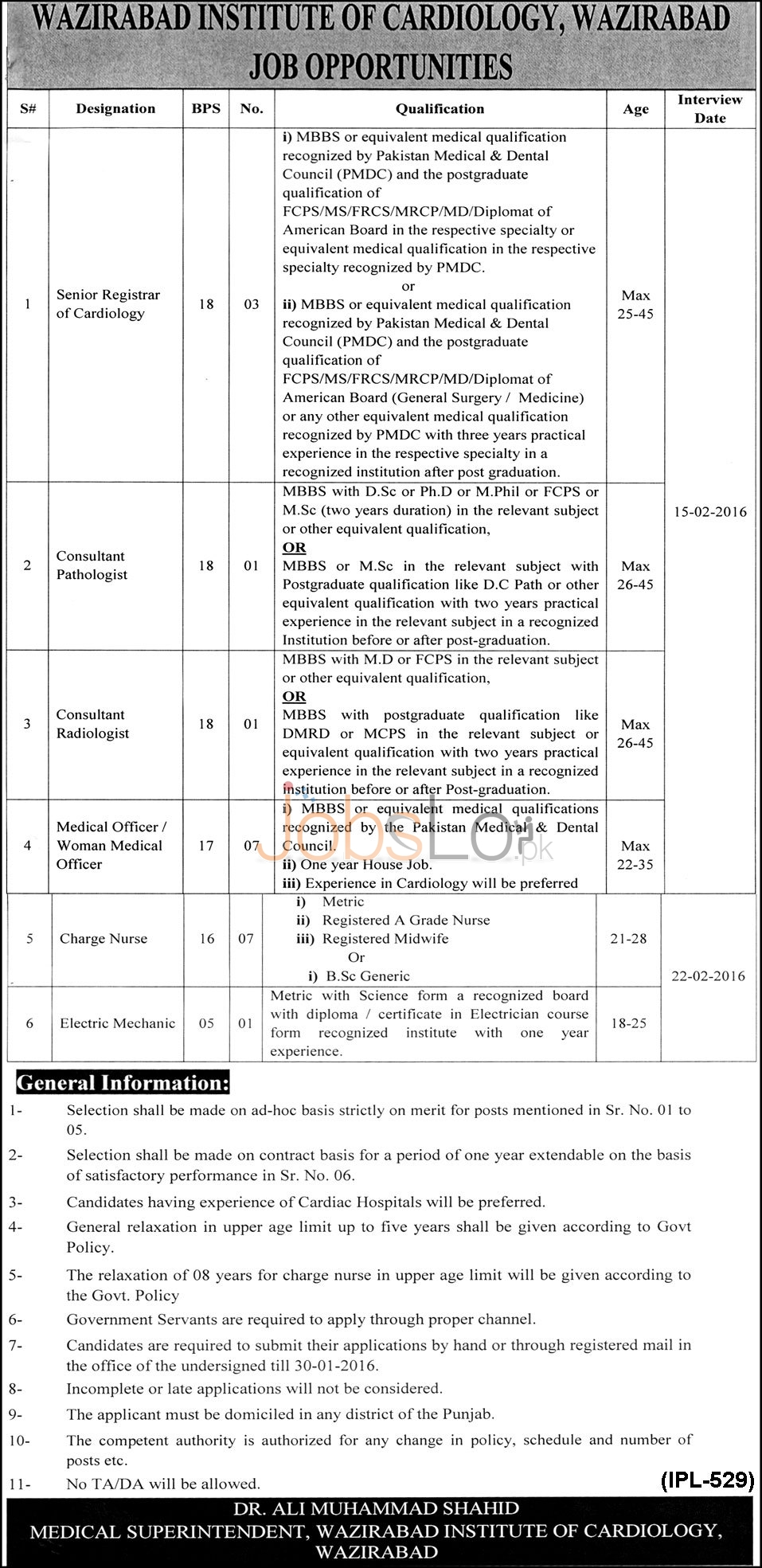Wazirabad Institute of Cardiology Jobs Latest Advertisement