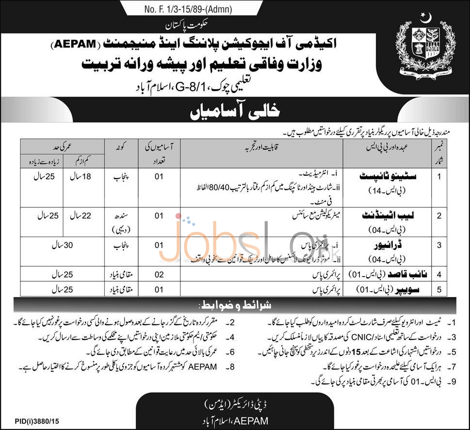 AEPAM Ministry of Federal Education & Professional Training 2016 Job Offers in Sindh and Punjab