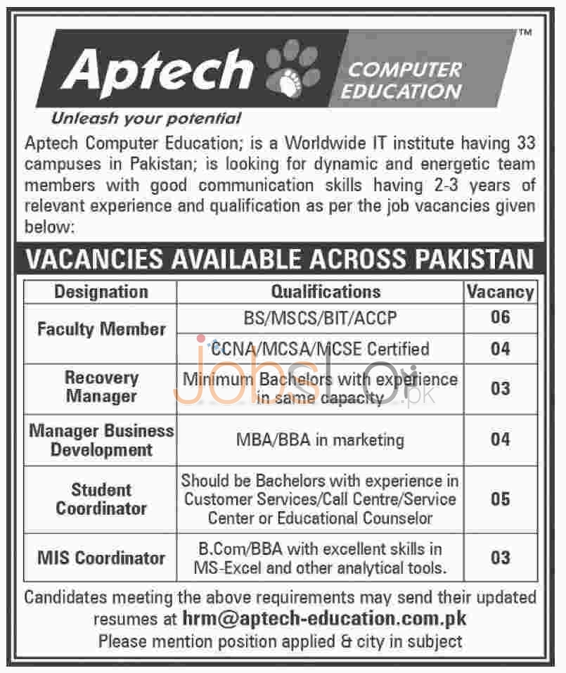 APTECH Computer Education Institute Jobs 2016 in 33 Branches of Pakistan Career Opportunities