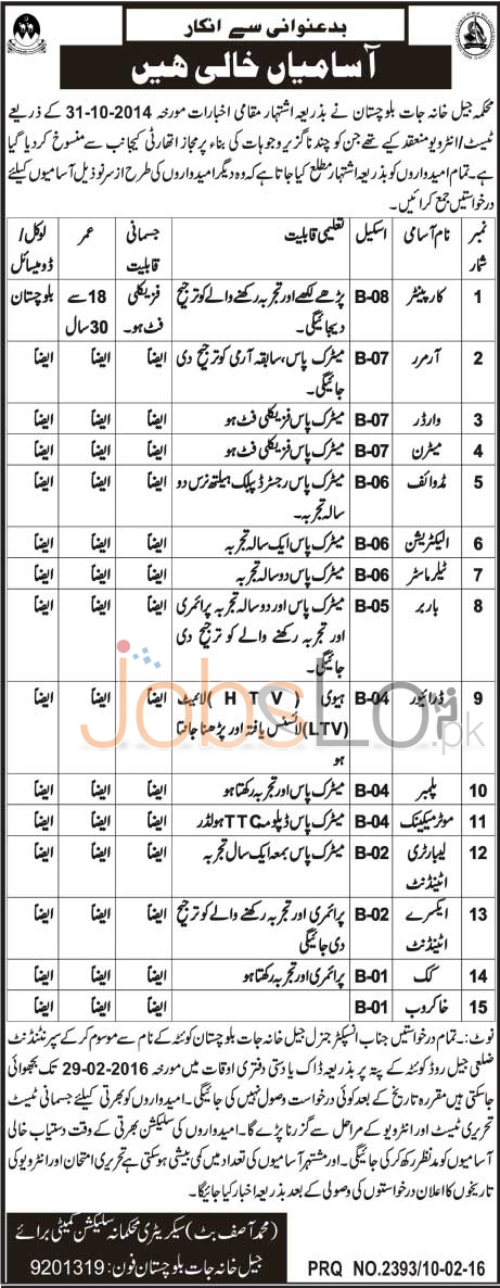 Central Jail Balochistan Job Opportunities 2016 in Quetta District Career Offers