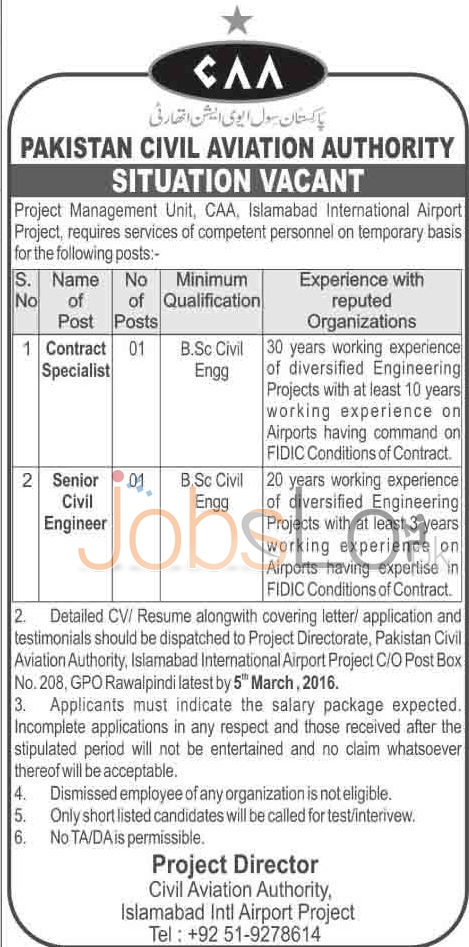 Pakistan Civil Aviation Authority CAA Jobs February 2016 in Islamabad For Contract Specialist