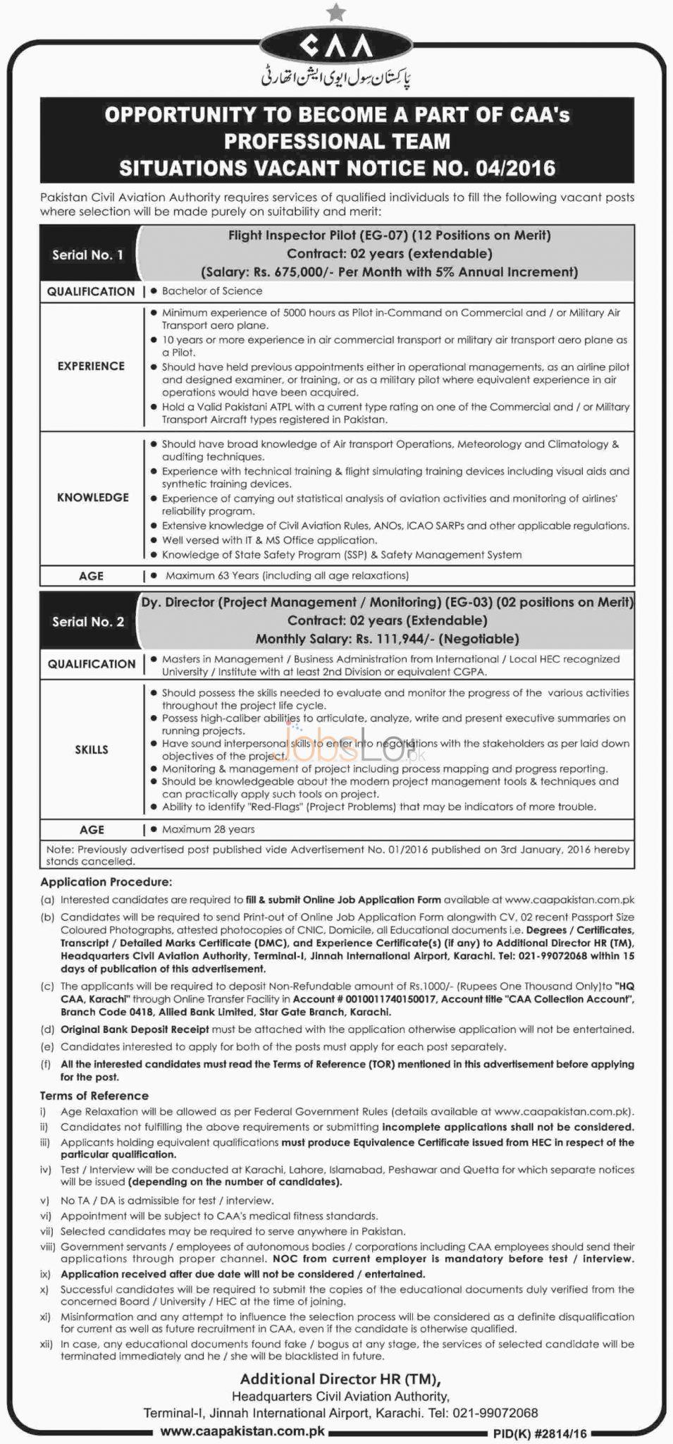 CAA Pakistan Civil Aviation Authority Karachi 2016 Jobs Apply Online
