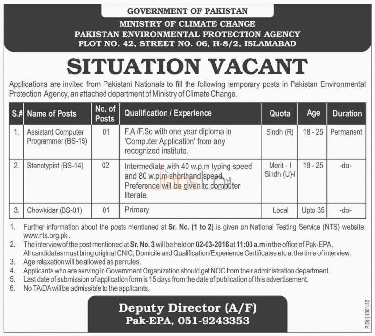 Ministry of Climate Change Jobs 2016 NTS Govt of Pakistan for Asst Computer Programmer & Stenotypist
