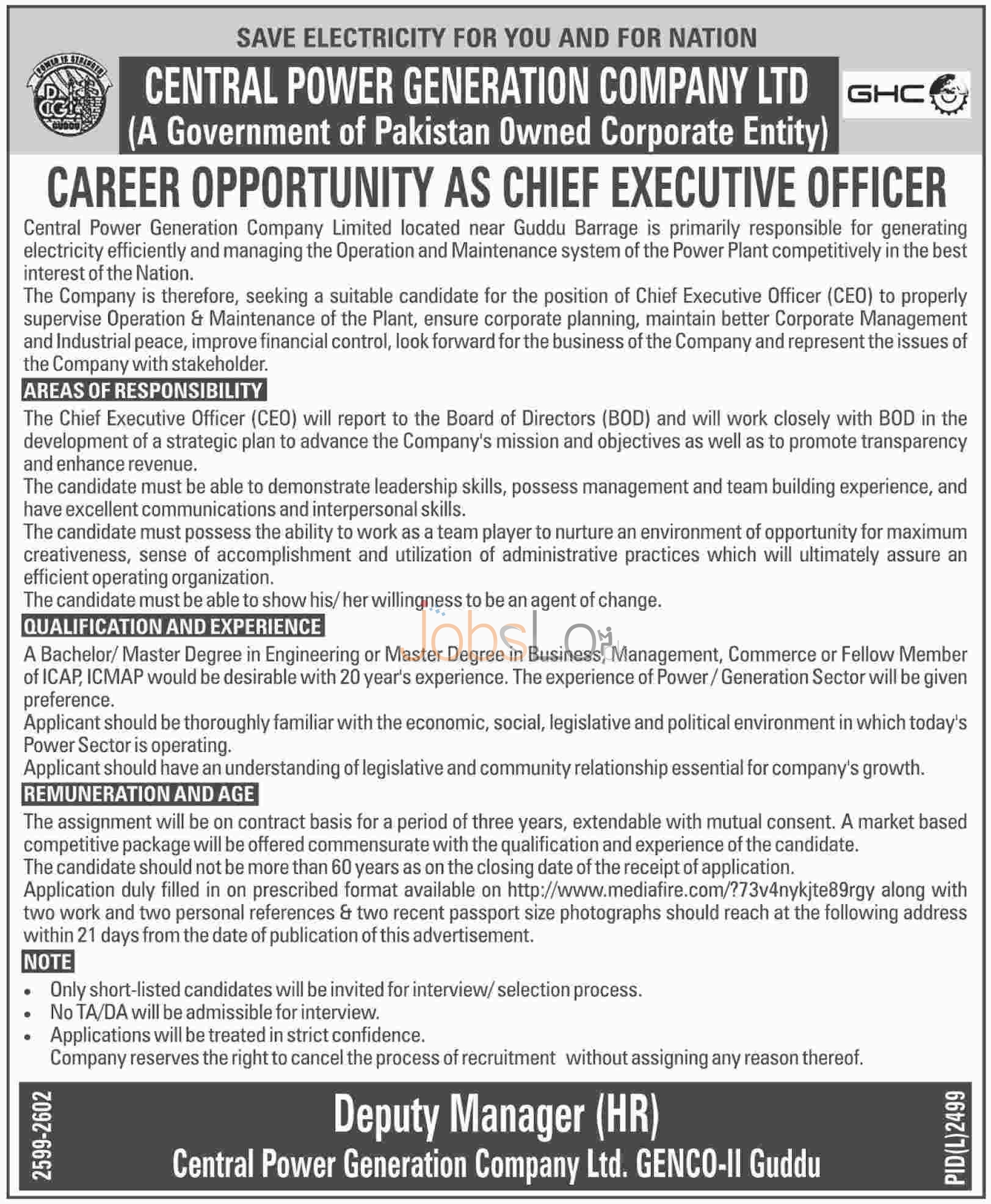 Situations Vacant in Central Power Generation Company Ltd 2016 Latest Advertisement