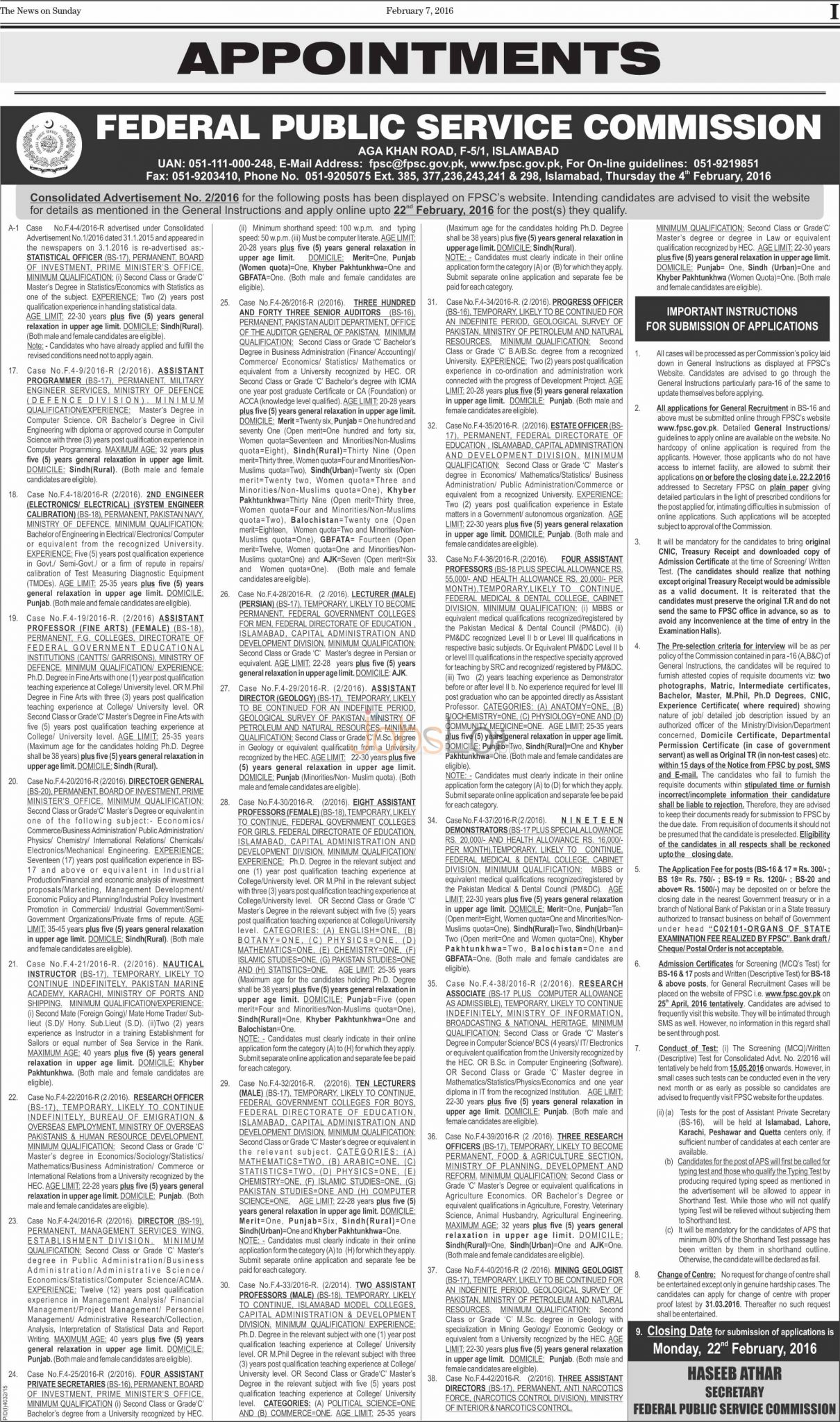 Recruitment Offer in FPSC Islamabad 2016 Latest Advertisement