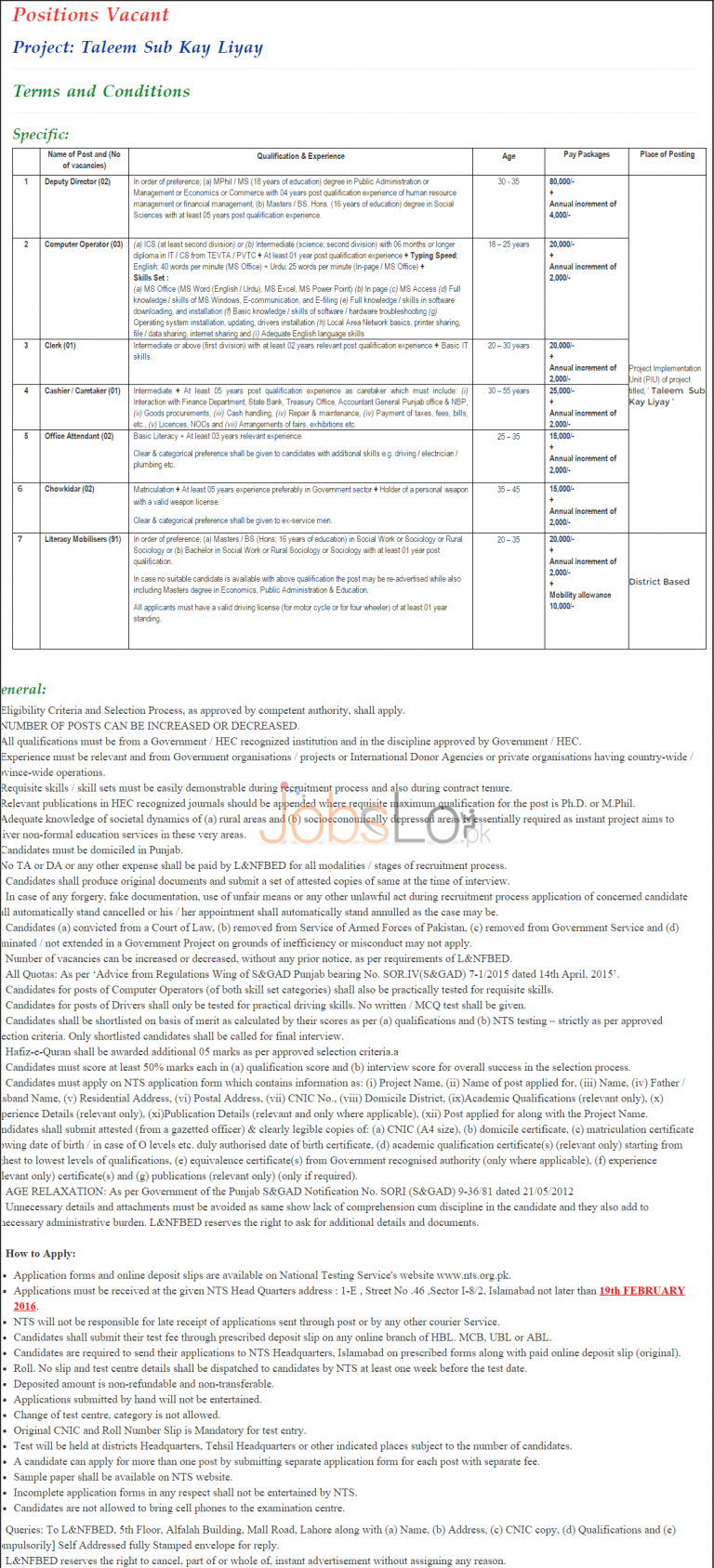 NTS Literacy and Non Formal Basic Education Jobs 2016 Application Form