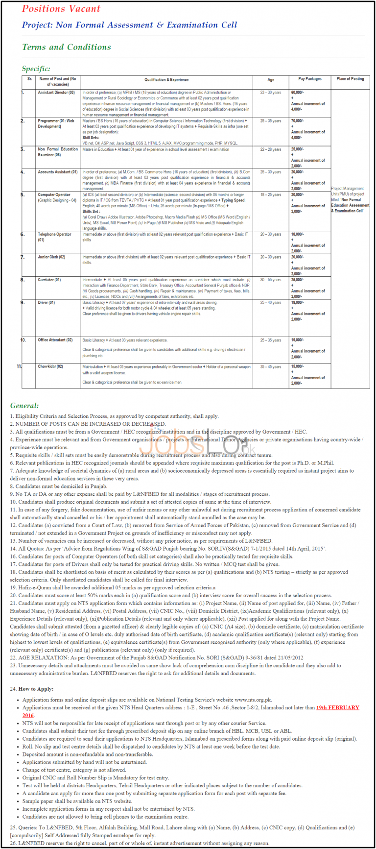 Literacy & NFBE Department NTS Jobs 2016 Non Formal Assessment & Examination Cell