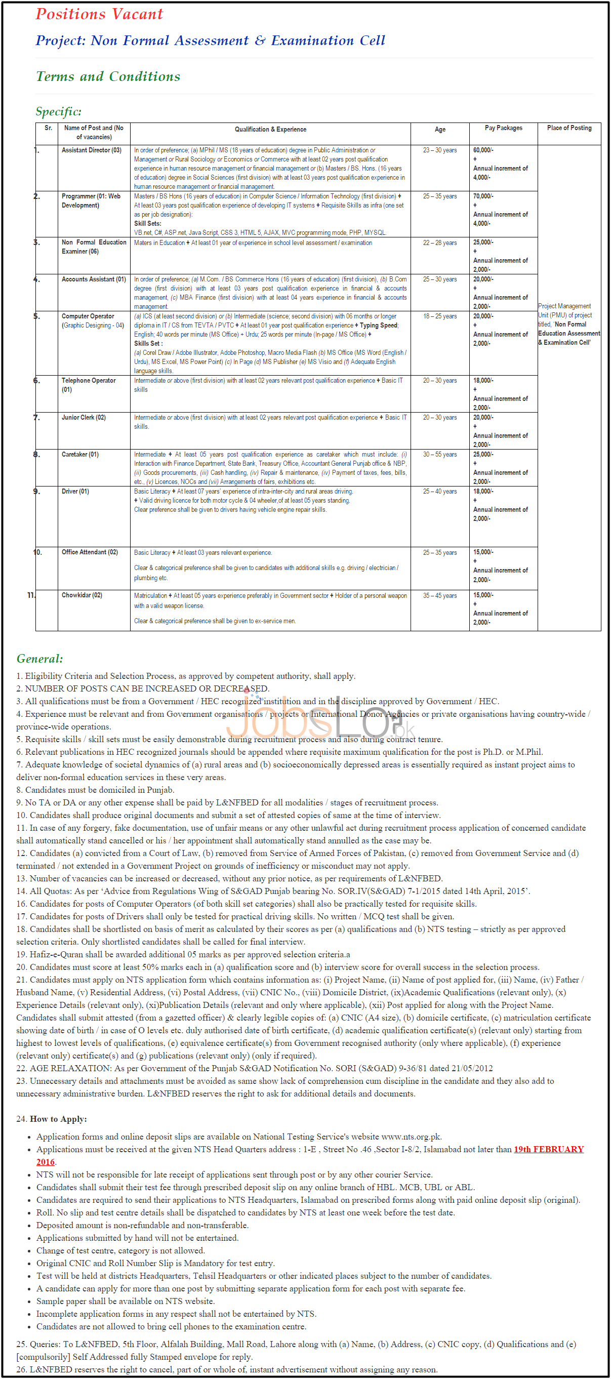 Situations Vacant in Literacy & NFBE Jobs in Punjab 2016 Latest Advertisement