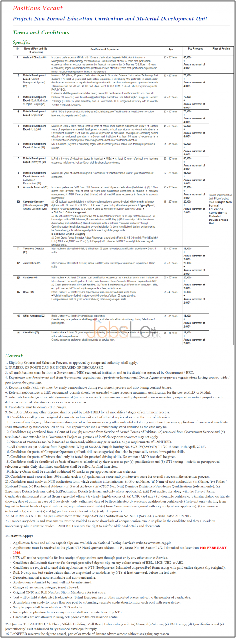 Literacy and Non Formal Basic Education Jobs 2016 in 36 Districts of Punjab