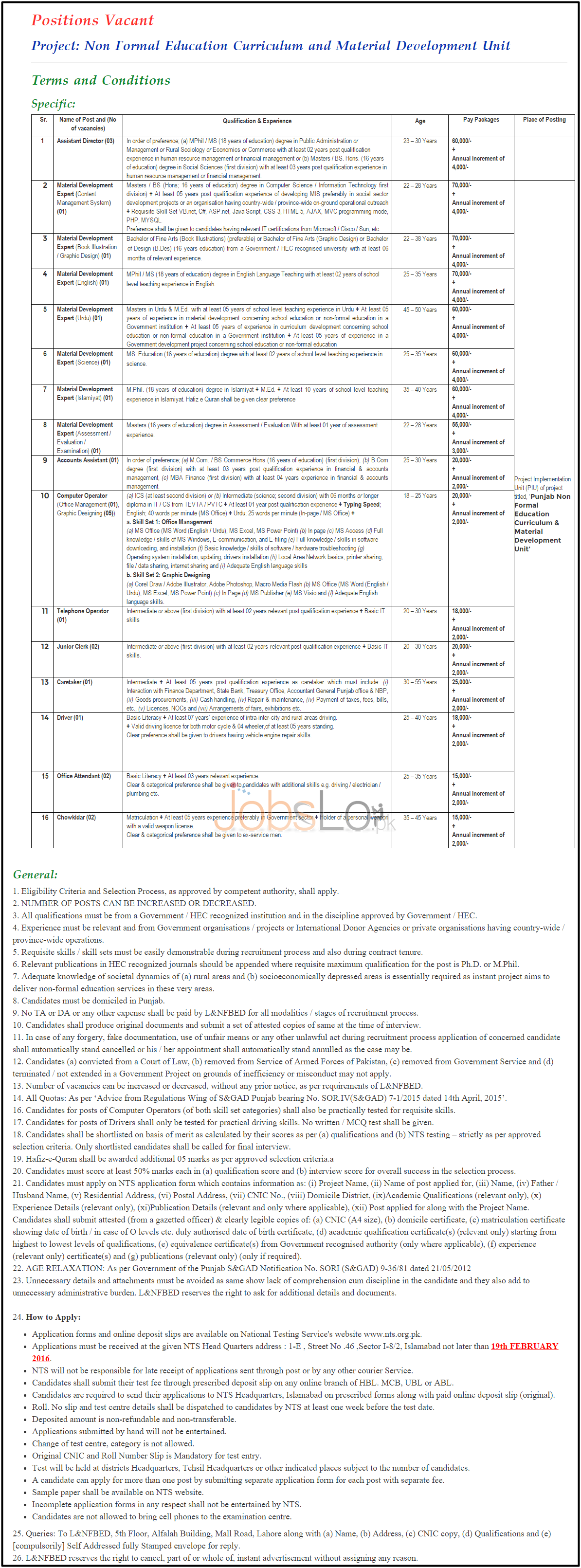 Literacy & NFBE Punjab 2016 Jobs Latest Advertisement