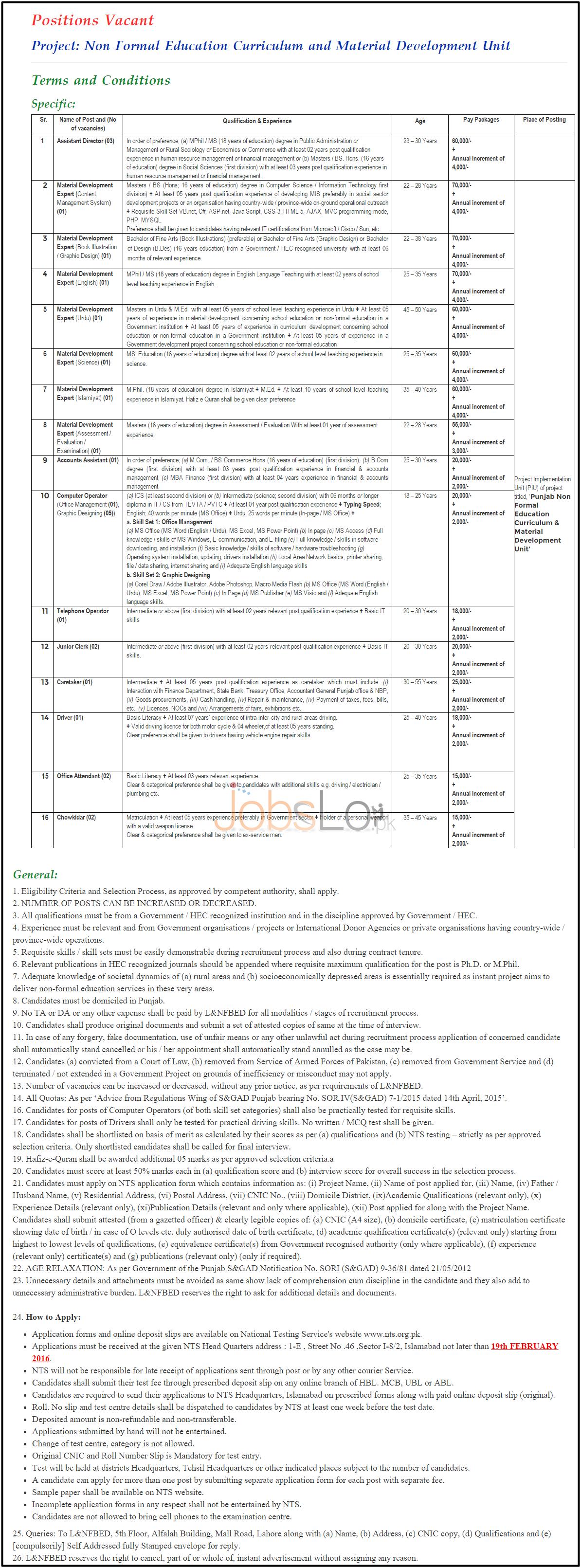 Literacy & NFBE Punjab 2016 Jobs Latest Advertisement