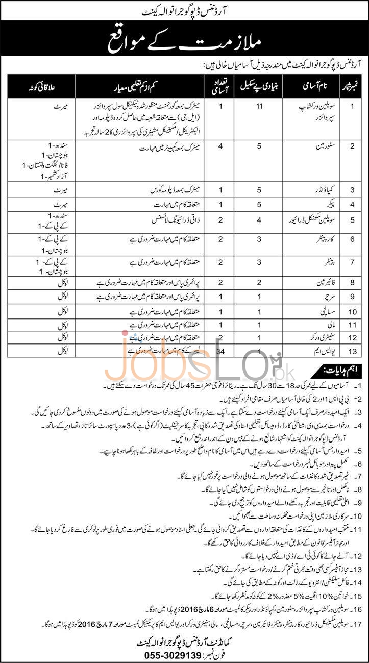 Employment Offers in Ordnanace Dipo Gujranwala Cantt 12th February 2016 Latest Advertisement Career Opportunities