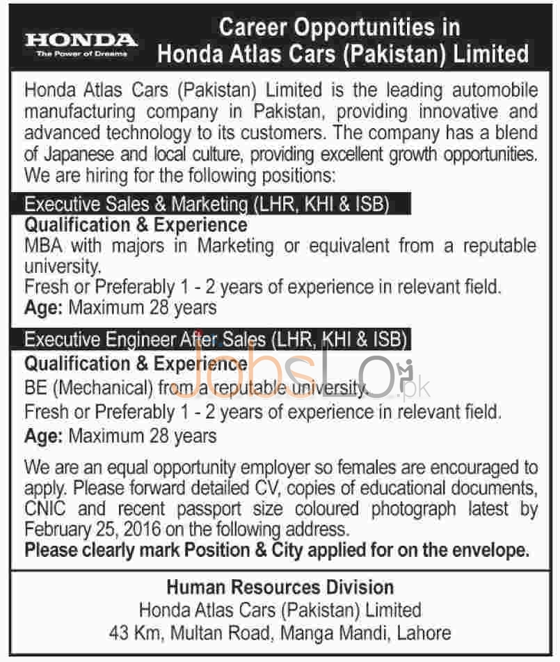 Situations Vacant in Honda Atlas Cars (Pakistan) Ltd 2016 in Lahore, Karachi, Islamabad